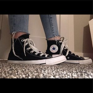 size 8 women's black high top converse!!